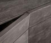 Kommode Wyatt Akazie Platin 175 cm 3D Optik oben Edelstahl Design Sideboard [13080]