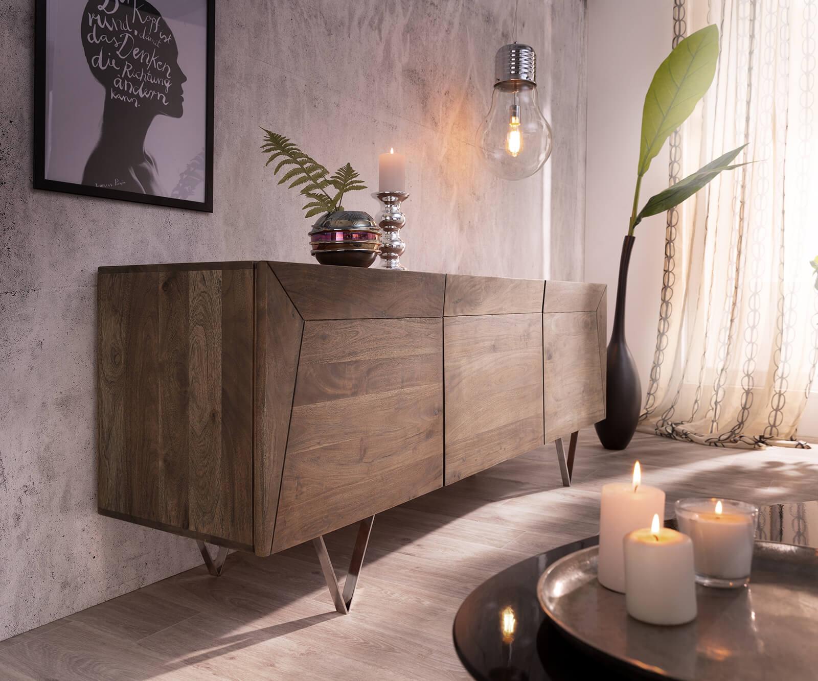 delife-design-sideboard-wyatt-175-cm-akazie-braun-3d-optik-oben-edelstahl-sideboards