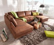 Couch Silas Braun Antik Optik 300x200 cm Ottomane Links Designer Wohnlandschaft [13187]