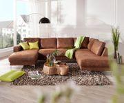 Couch Silas Braun Antik Optik 300x200 cm Ottomane Rechts Designer Wohnlandschaft [13188]