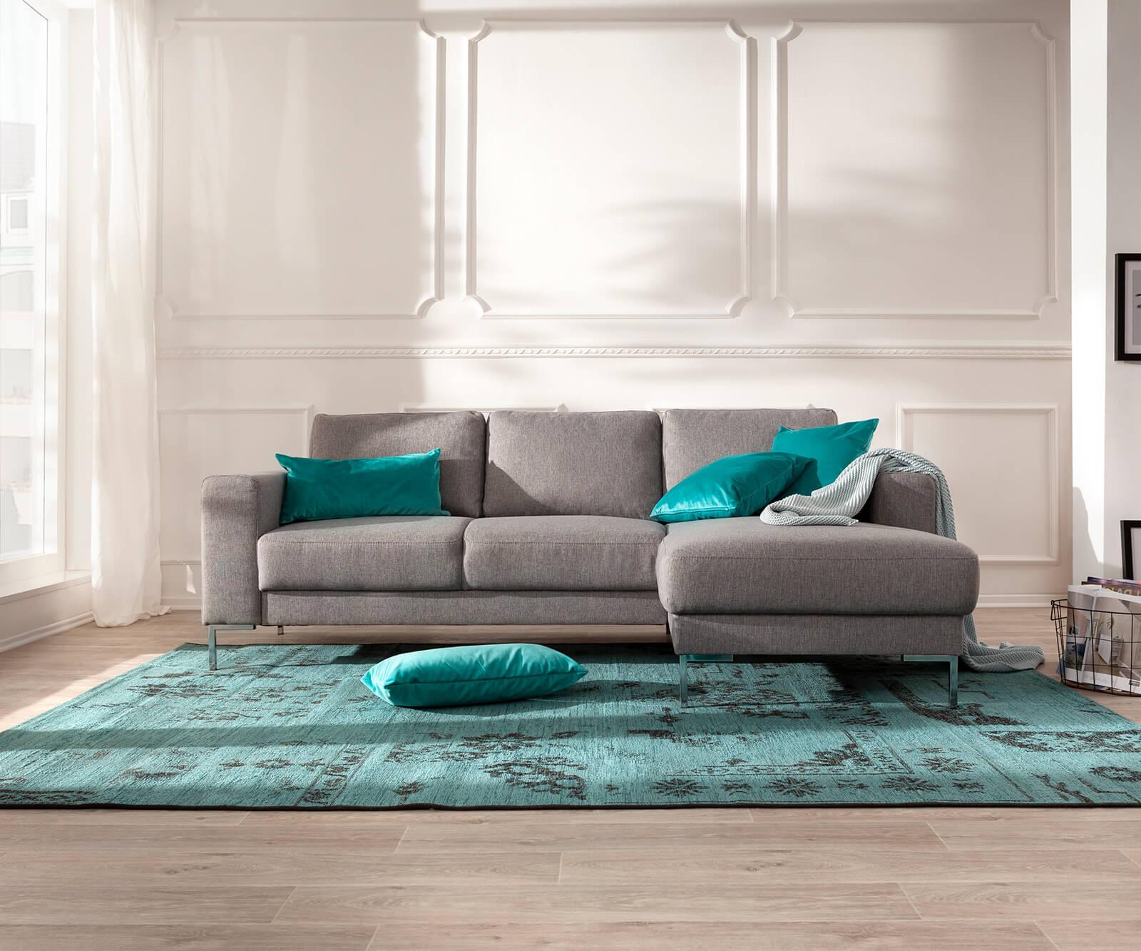 Designer-Ecksofa Silas 235x147 cm Grau Ottomane Rechts