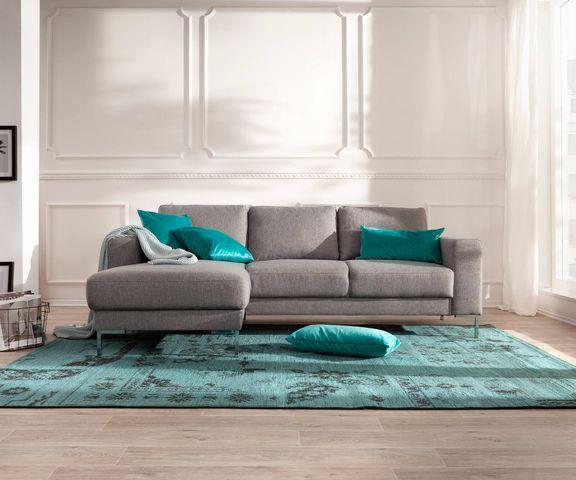 Designer-hoekbank Silas 235x147 cm grijs ottomane links 1