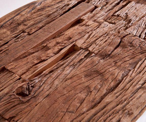 Bijzettafel Gravio 140x40 oud houtbruin frame in roestvrij staal gepolijst. 3
