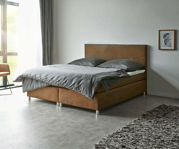 Boxspring-bed Cloud 180x200 cm bruin topper en matras 2