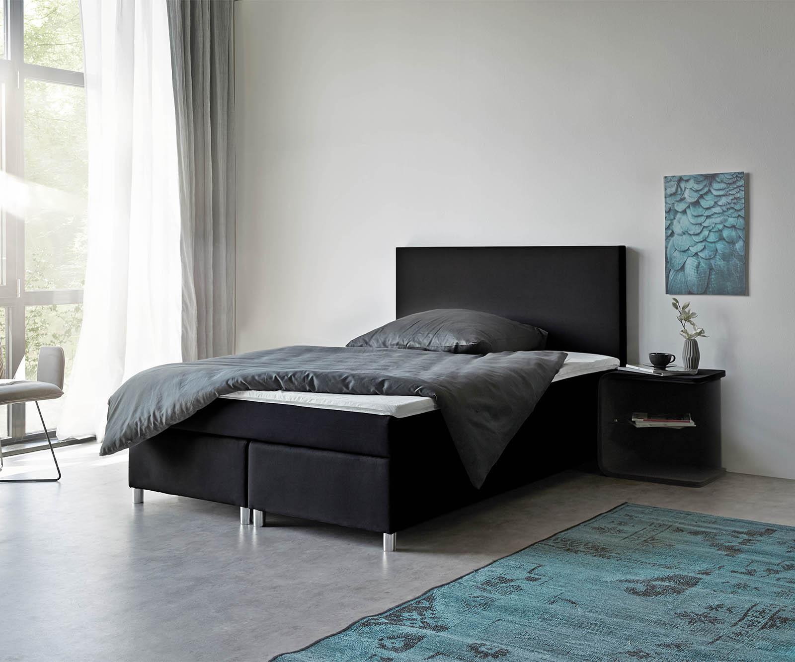 bett cloud schwarz 140x200 cm matratze und topper. Black Bedroom Furniture Sets. Home Design Ideas