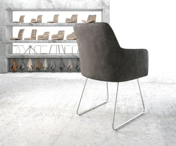 Eetkamerstoel Greg -Flex antraciet vintage suède-look slipframe roestvrij staal  3
