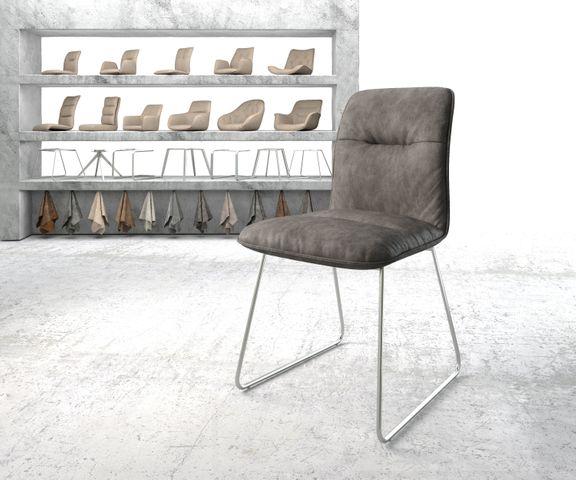 Eetkamerstoel Vinjo-Flex antraciet vintage suède-look slipframe roestvrij staal  1