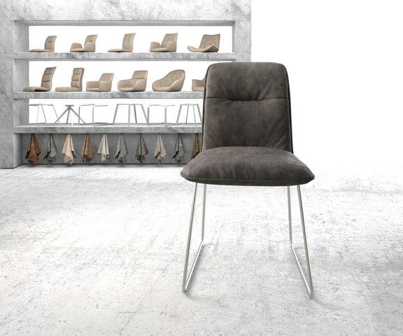 Eetkamerstoel Vinjo-Flex antraciet vintage suède-look slipframe roestvrij staal  2