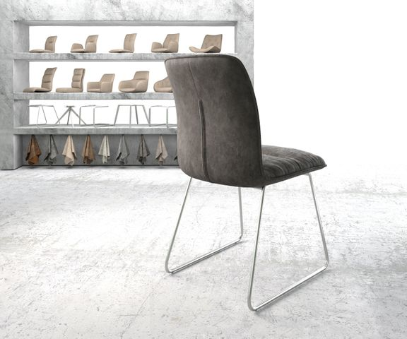 Eetkamerstoel Vinjo-Flex antraciet vintage suède-look slipframe roestvrij staal  3