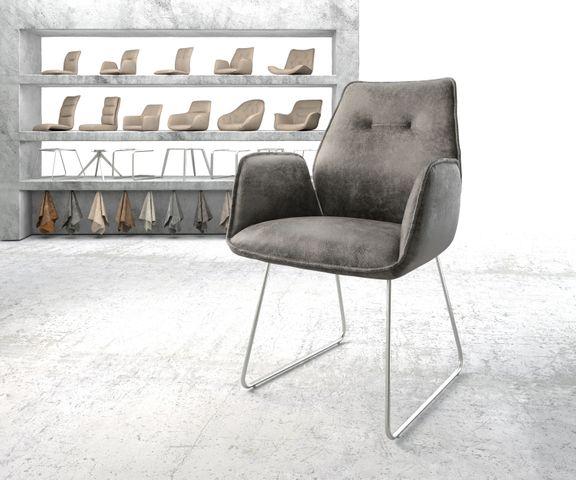 Eetkamerstoel Zoa-Flex grijs vintage suède-look slipframe roestvrij staal  1