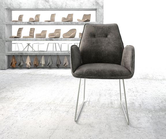 Eetkamerstoel Zoa-Flex grijs vintage suède-look slipframe roestvrij staal  2
