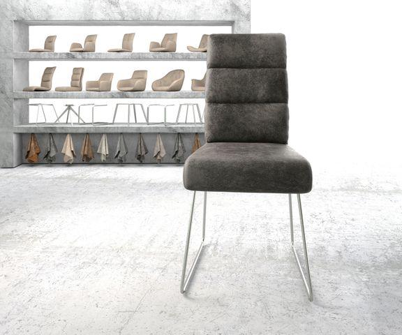 Eetkamerstoel Pela-Flex grijs vintage suède-look slipframe roestvrij staal  2