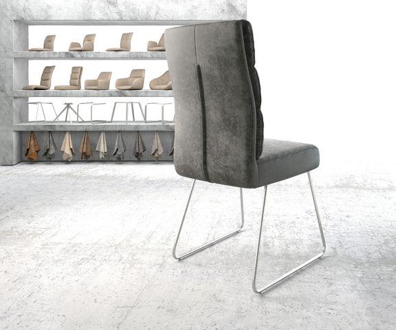Eetkamerstoel Pela-Flex grijs vintage suède-look slipframe roestvrij staal  3