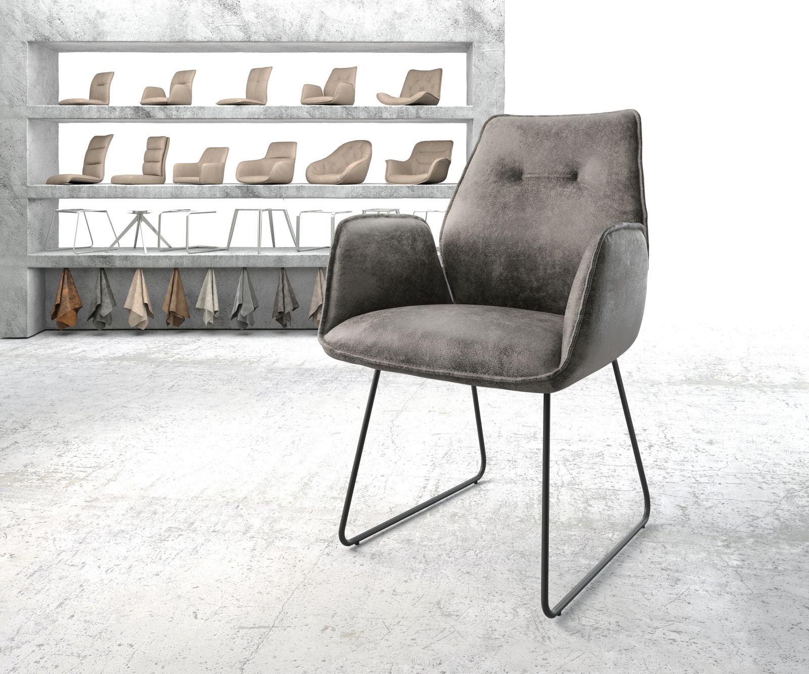 delife-esszimmerstuhl-zoa-flex-grau-microvelours-kufengestell-schwarz-esszimmerstuhle