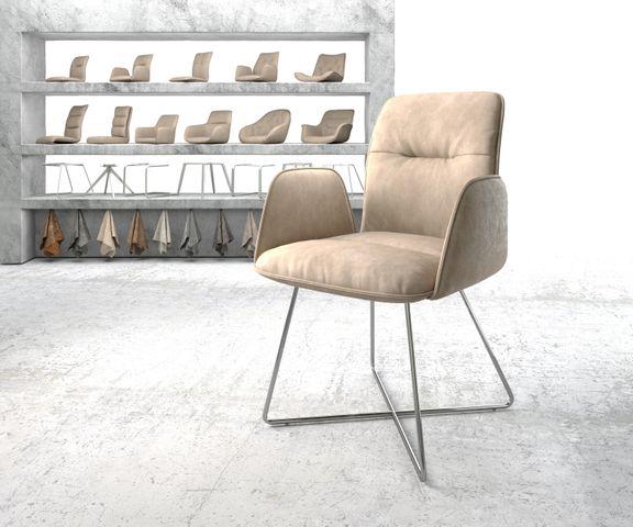 Eetkamerstoel Vinja-Flex beige vintage suède-look X-frame roestvrij staal  1