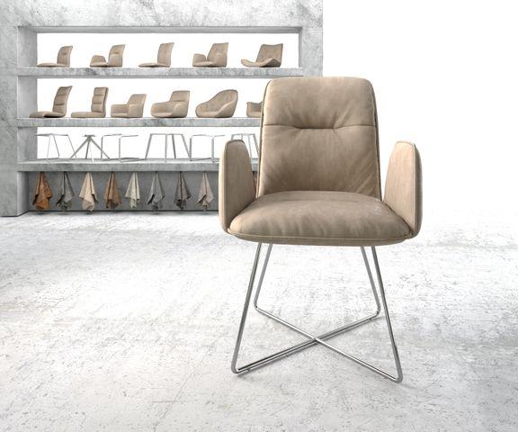 Eetkamerstoel Vinja-Flex beige vintage suède-look X-frame roestvrij staal  2