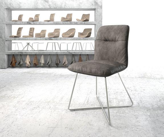 Eetkamerstoel Vinjo-Flex antraciet vintage suède-look X-frame roestvrij staal  1