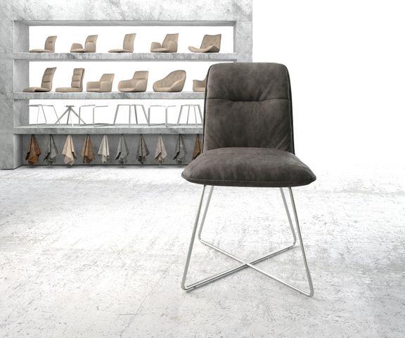 Eetkamerstoel Vinjo-Flex antraciet vintage suède-look X-frame roestvrij staal  2