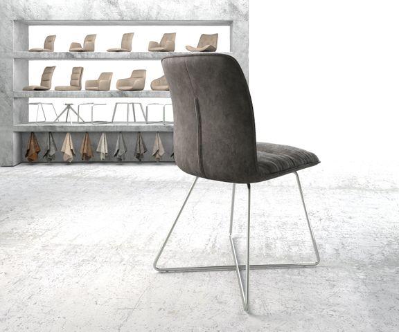 Eetkamerstoel Vinjo-Flex antraciet vintage suède-look X-frame roestvrij staal  3