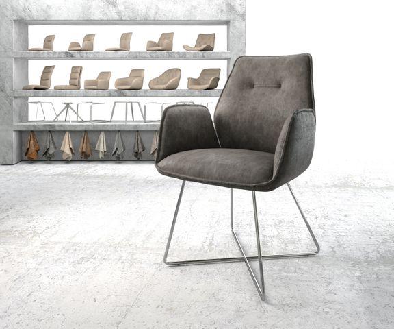 Eetkamerstoel Zoa-Flex antraciet vintage suède-look X-frame roestvrij staal  1