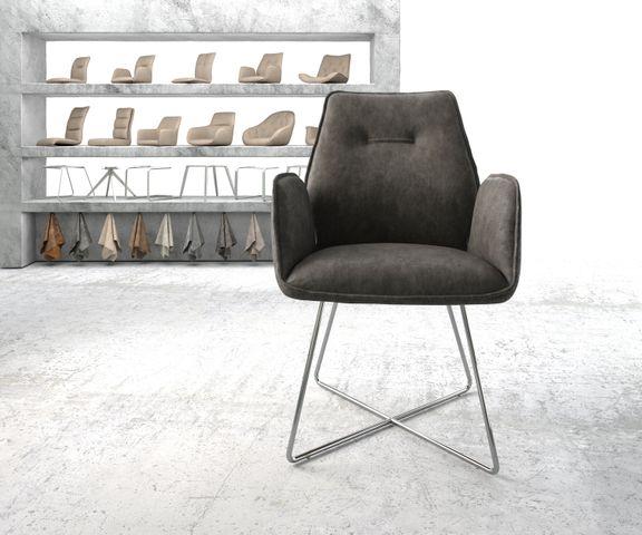 Eetkamerstoel Zoa-Flex antraciet vintage suède-look X-frame roestvrij staal  2