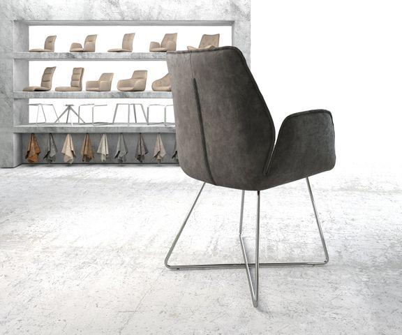 Eetkamerstoel Zoa-Flex antraciet vintage suède-look X-frame roestvrij staal  3