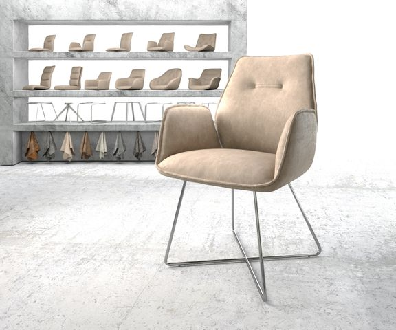 Eetkamerstoel Zoa-Flex beige vintage suède-look X-frame roestvrij staal  1