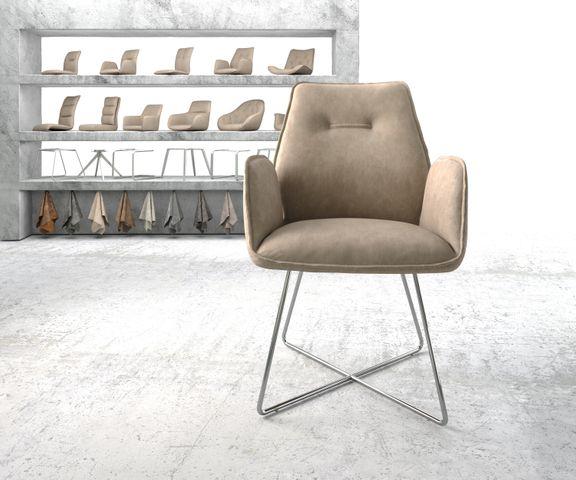 Eetkamerstoel Zoa-Flex beige vintage suède-look X-frame roestvrij staal  2