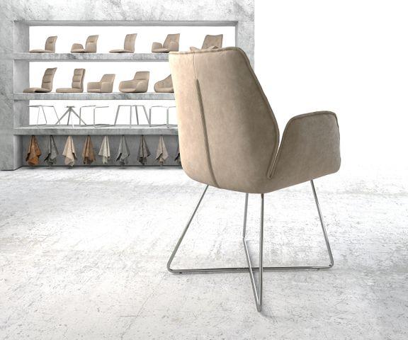 Eetkamerstoel Zoa-Flex beige vintage suède-look X-frame roestvrij staal  3