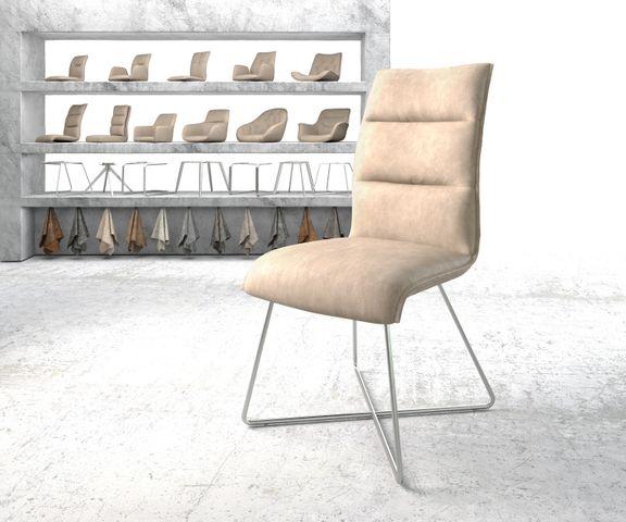 Eetkamerstoel Xantus-Flex beige vintage suède-look X-frame roestvrij staal  1