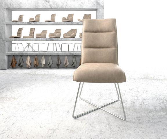 Eetkamerstoel Xantus-Flex beige vintage suède-look X-frame roestvrij staal  2