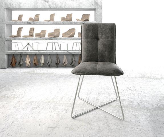 Eetkamerstoel Maddy-Flex grijs vintage suède-look X-frame roestvrij staal  2