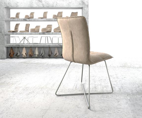 Eetkamerstoel Maddy-Flex beige vintage suède-look X-frame roestvrij staal  3