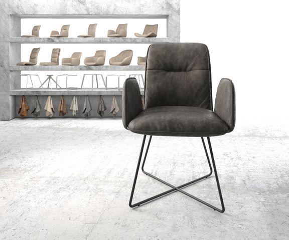 Eetkamerstoel Vinja-Flex antraciet vintage suède-look X-frame zwart 2