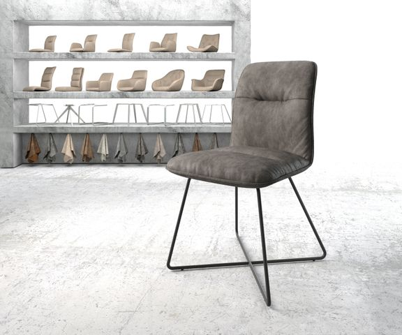 Eetkamerstoel Vinjo-Flex antraciet vintage suède-look X-frame zwart 1