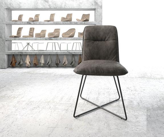 Eetkamerstoel Vinjo-Flex antraciet vintage suède-look X-frame zwart 2