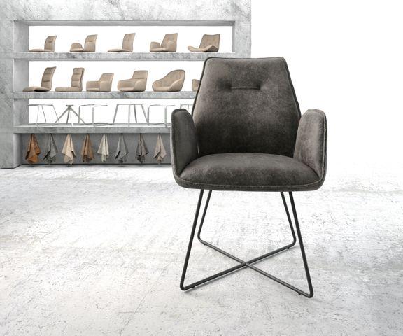 Eetkamerstoel Zoa-Flex grijs vintage suède-look X-frame zwart 2
