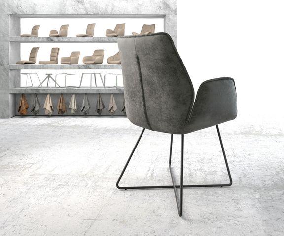 Eetkamerstoel Zoa-Flex grijs vintage suède-look X-frame zwart 3