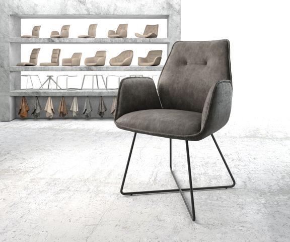 Eetkamerstoel Zoa-Flex antraciet vintage suède-look X-frame zwart 1