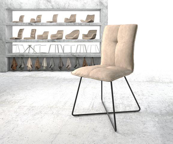 Eetkamerstoel Maddy-Flex beige vintage suède-look X-frame zwart 1