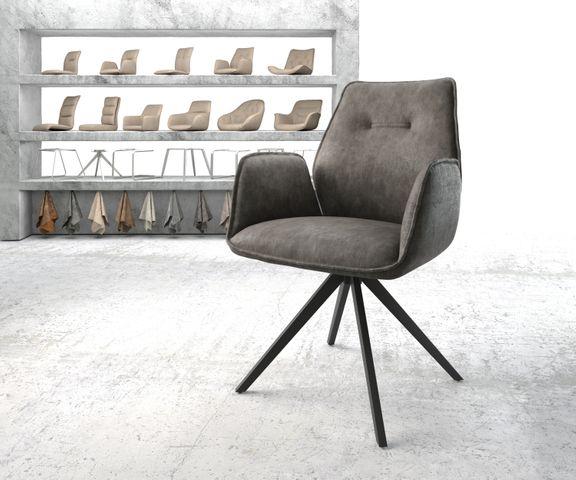 Eetkamerstoel Zoa-Flex antraciet vintage suède-look kruisframe zwart 1