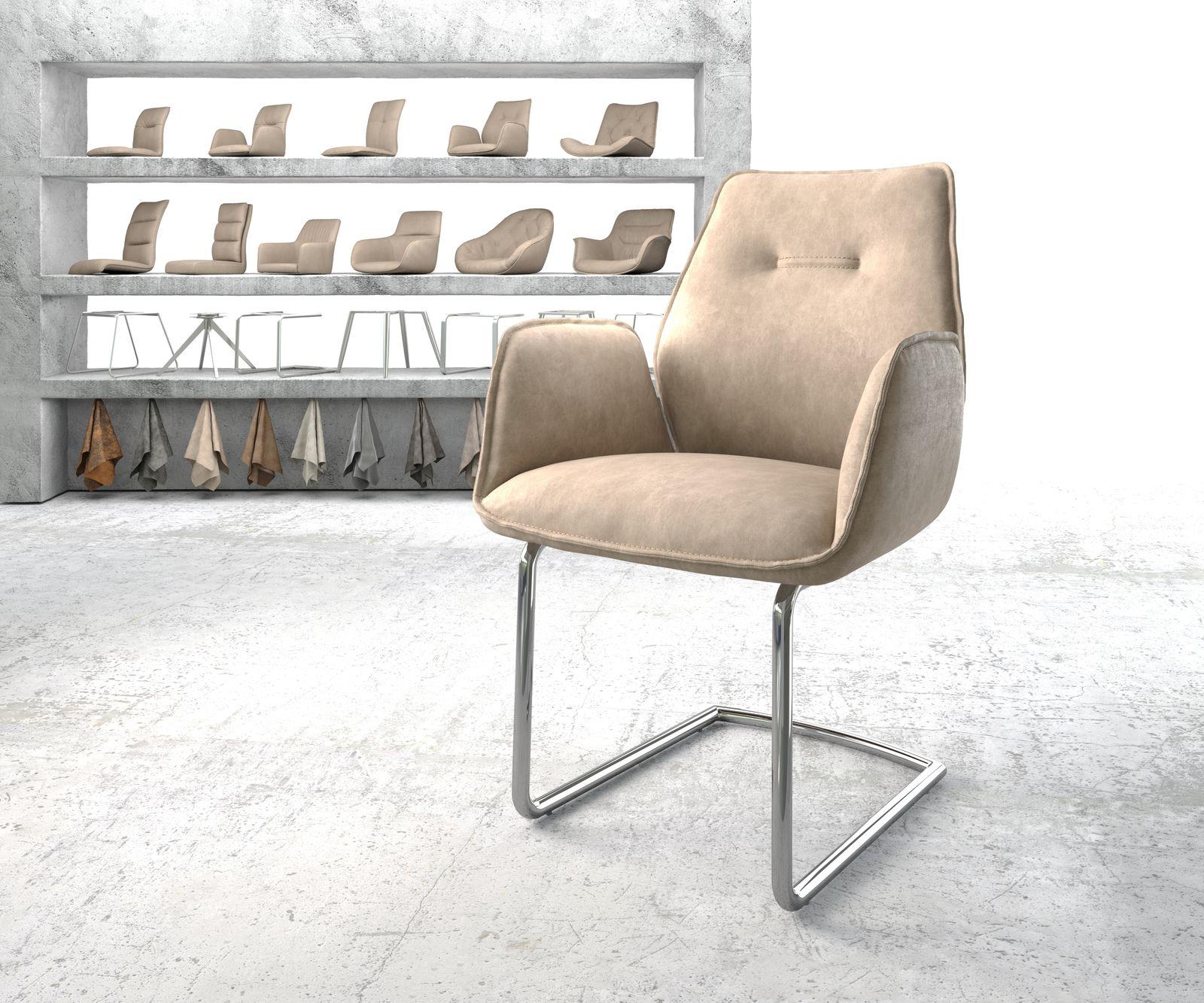 delife-armlehnstuhl-zoa-flex-beige-vintage-freischwinger-rund-verchromt-esszimmerstuhle
