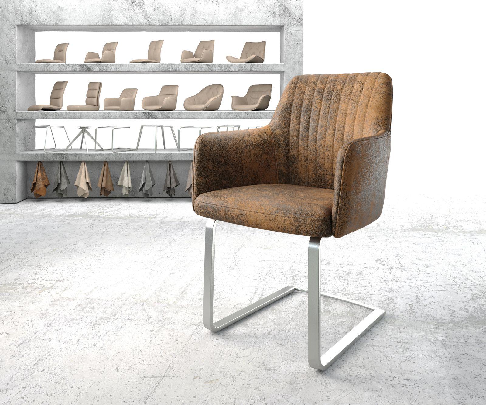 delife-armlehnstuhl-greg-flex-braun-vintage-freischwinger-flach-edelstahl-esszimmerstuhle, 119.90 EUR @ delife-de