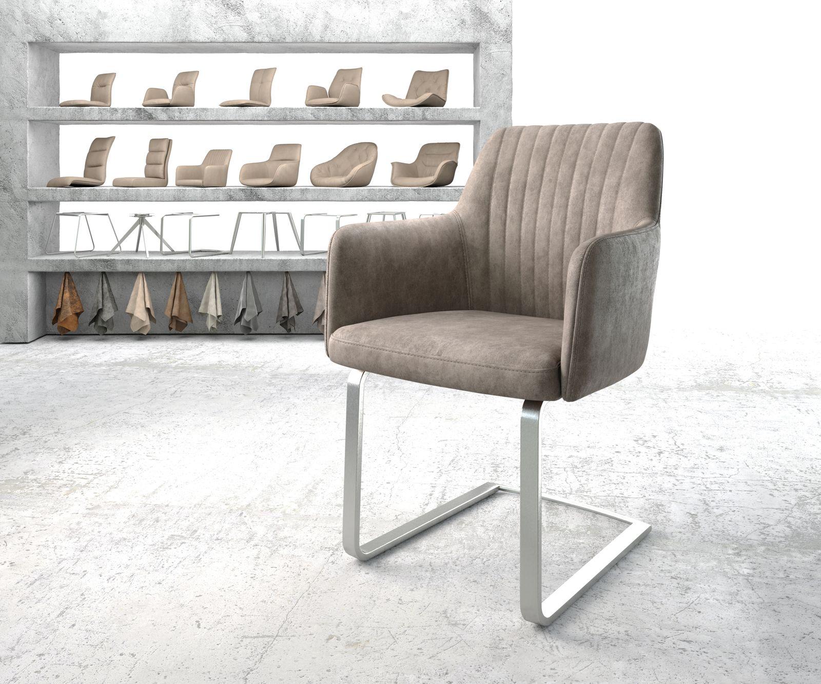 delife-armlehnstuhl-greg-flex-taupe-vintage-freischwinger-flach-edelstahl-esszimmerstuhle, 119.90 EUR @ delife-de