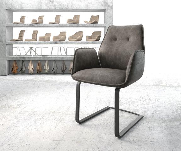 Eetkamerstoel Zoa-Flex antraciet vintage suède-look frame vlak zwart 1