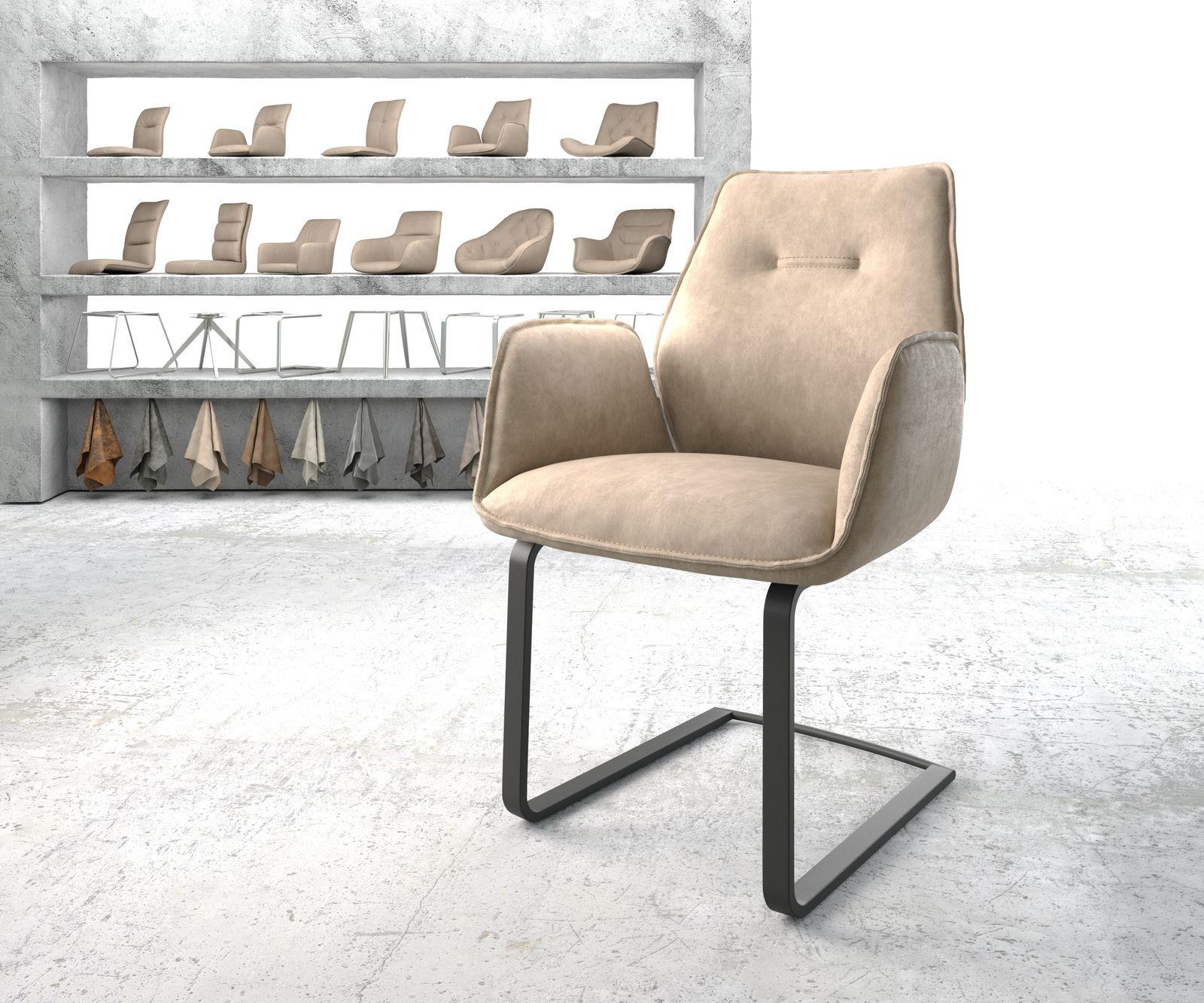 delife-armlehnstuhl-zoa-flex-beige-vintage-freischwinger-flach-schwarz-esszimmerstuhle
