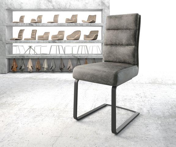 Eetkamerstoel Pela-Flex grijs vintage suède-look frame vlak zwart 1
