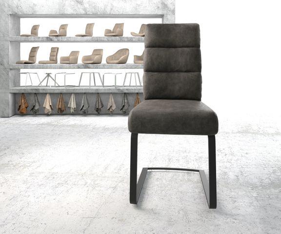 Eetkamerstoel Pela-Flex antraciet vintage suède-look frame vlak zwart 2