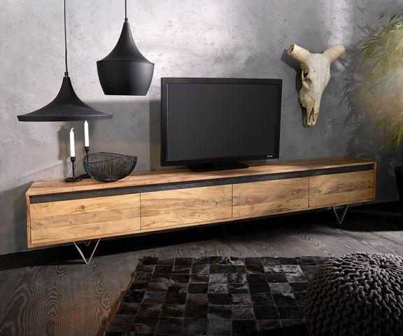 Tv-tafel Stonegrace 240 cm acacia natuur 4 deuren 1