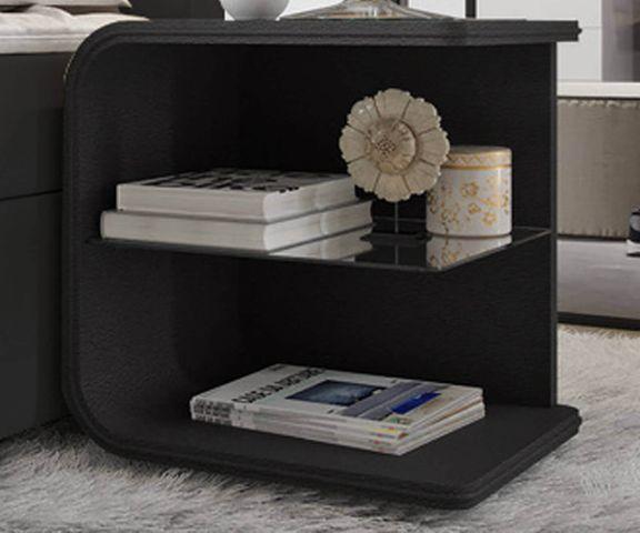 Nachtkastje Oscar big 50cm hoog zwart met LED en glazen plankje 1